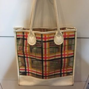 Vintage Burberry PVC & White Leather Tote